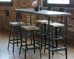 Urban Wood Goods High Top Bar Table Height Tables Rustic Dining With Pipe Legs In Your Choice Of Sizes Or Finishes
