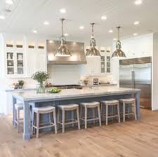 Like This Kitchen For The Wide Plank White Oak Flooring Oversized Island With And Light Fixtures
