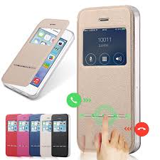 Luxury Front Window View Leather Case for iPhone 5 Phone