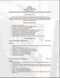Cnc Machinist Resume Examples