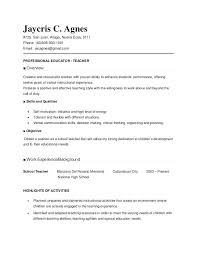Teaching Resumes Samples Teacher Resume For New Teachers With No Experience