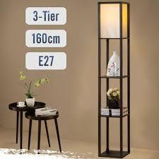 stehle mit holzregal innenbeleuchtung holz stehleuchte mit regalen für schlafzimmer und wohnzimmer led e27 schwarz
