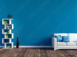 foto auf lager modernes blaues wohnzimmer weißes ledersofa und blaue wandverkleidung mit platz 3d rendering