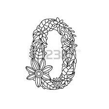 Floral Font Number Coloring Book For Adults Vector Illustration