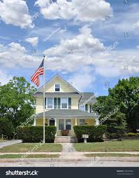 Flagpole Christmas Tree Plans by American Flag Pole Front Yard Lawn Stock Photo 160702556