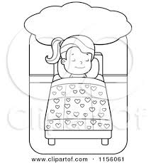 Cartoon Clipart Of A Black And White Little Girl Dreaming Sleeping In Bed