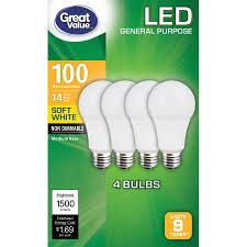 great value led light bulbs 14w 100w equivalent soft white 4