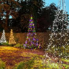 Flagpole Christmas Tree Topper by 3m Fairybell Outdoor Pre Lit Tree 360 Multi Colour Twinkle Leds