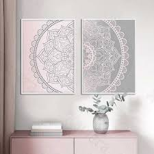 gradienten rosa grau mandala abstrakte leinwand poster boho wand kunstdruck malerei dekorative bild moderne wohnzimmer dekoration