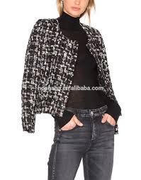 frayed edges tweed jacket women blazers suits design ladies winter