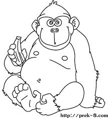 Gorillas Free Kids Jungle Animals Coloring Page