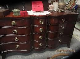 Drexel Heritage Dresser Mirror by Drexel Travis Court 1940s Vintage Mahogany Serpentine Dresser W