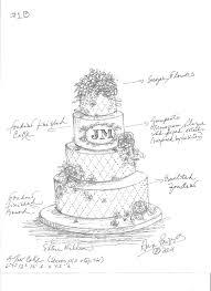 Drawn wedding cake sketch 1