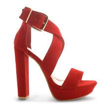 womens ladies strappy platform block high heel ankle strap sandals