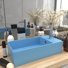 vidaxl badezimmer waschbecken mit überlauf keramik hellblau