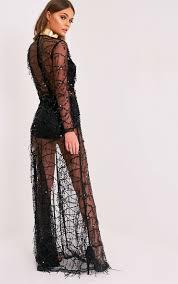 prettylittlething womens valentina black premium sequin long