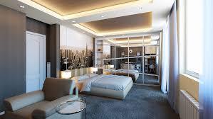 Dark Blue Shag Carpet Interior Design Ideas Overhead Lighting And Mirrored Walls Make This Bedroom Feel