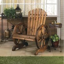 Rustic Wood Wooden Country WAGON WHEEL Outdoor Patio Furniture ADIRONDACK CHAIR