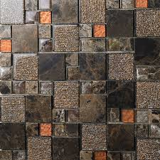 Brown Crystal Glass Mosaic Tile Natural Marble Stone Tiles FREE SHIPPING Wall Backspalshes Bedroom Washroom