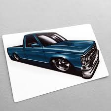100 Mini Truck Stickers Scene Blue Garage Built Dime Low Label