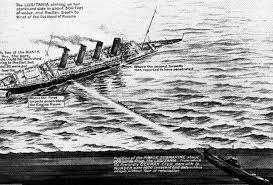 diagram showing how the german u boat hit the lusitania with a