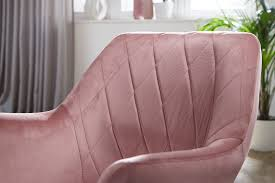 design drehstuhl rosa samt drehbar ohne rollen küchenstuhl mit armlehne bequemer schalenstuhl esszimmer esszimmerstuhl mit lehne