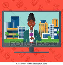 Television Set Broadcasting The News With An African American Reporter Vector Flat Design Illustration Isolated On Red Background Media Icons