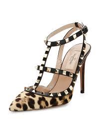valentino rockstud leopard print calf hair pumps lyst