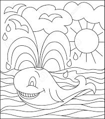 Ilustración Blanco Y Negro De Una Ballena Para Colorear Desarrollar