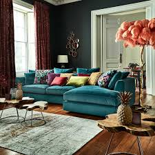 Teal Color Living Room Decor by Harrington Large Chaise Lhf Lumino Teal Corner Sofas Living