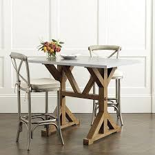 Brown And White Tatum Trestle Counter Table With Zinc Top