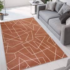 wohnzimmerteppich braun grau rechteckig modernes geometrisches design glo007