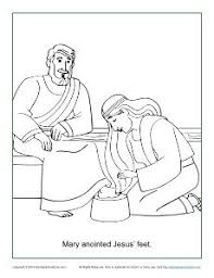 Mary Anointed Jesus Feet Coloring Page