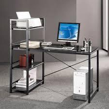 Techni Mobili Computer Desk With Side Cabinet by Techni Mobili Computer Desk With 4 Tier Shelf Glass Walmart Com