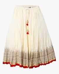 biba women white crushed cotton skirt contrast detail
