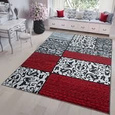 details zu teppich kurzflor modern floral wohnzimmer gästezimmer grau rot weiß ökotex
