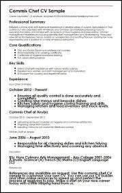 Commis Chef CV Sample