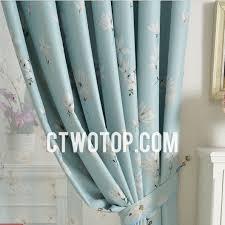 light sky blue floral printed blackout living room curtains
