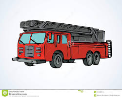 99 How To Draw A Fire Truck Step By Step Truck Vector Drawing Stock Vector Illustration Of Hose