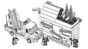 Lego Duplo Firefighter Try To Extinguish Fire Coloring Pages