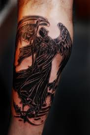 Grim Reaper Angel Of Death Tattoo Winged Wearing A Hooded Black