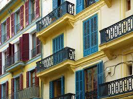 100 Townhouse Facades Colorful Mediterranean Townhouse Facades Stock Photo