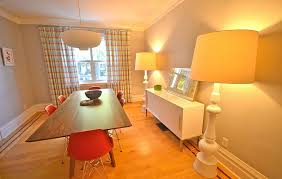 View In Gallery Eclectic And Bright Dining Room With Oversized Floor Lamps Yellow Lampshades