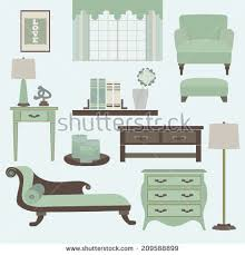 Teal Living Room Chair by Living Room Furniture Accessories Color Teal Stock Vector