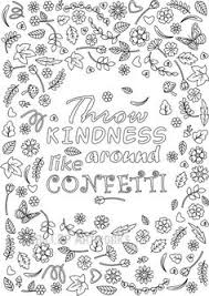 Printable Throw Kindness Around Like Confetti Coloring Page For Grown Ups Flower Design With Blank Template