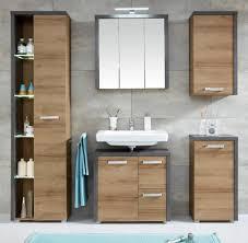 badezimmer möbel set eiche honig nb und grau beton design bad möbelset bay 5 teilig mit chromgriffen und soft