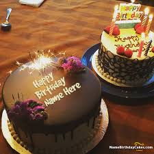 Cake · write name on Fireworks Candles Chocolate Cake For Happy Birthday picture