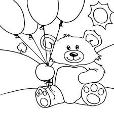 Teddy Bear And Balloons Coloring Page