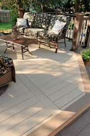 Kontiki Interlocking Deck Tiles Engineered Polymer Series by Azek Decking Harvest Collection In Brownstone With Sedona Accents