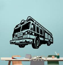 Fire Truck Wall Decal Engine Fireman Firefighter Vinyl Sticker Home ...